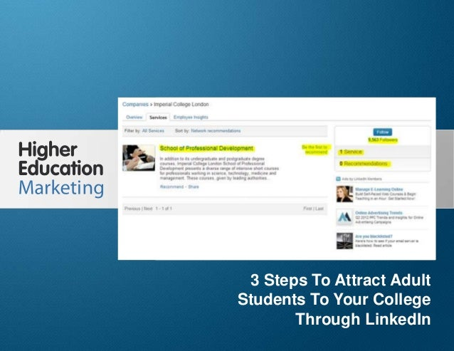 3 Steps To Attract Adult Students To Your College Through LinkedIn Slide 1 3 Steps To Attract Adult Students To Your Colle...