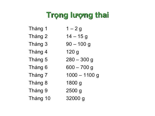 Trọng lượng thaiTrọng lượng thai Tháng 1 1 – 2 g Tháng 2 14 – 15 g Tháng 3 90 – 100 g Tháng 4 120 g Tháng 5 280 – 300 g Th...