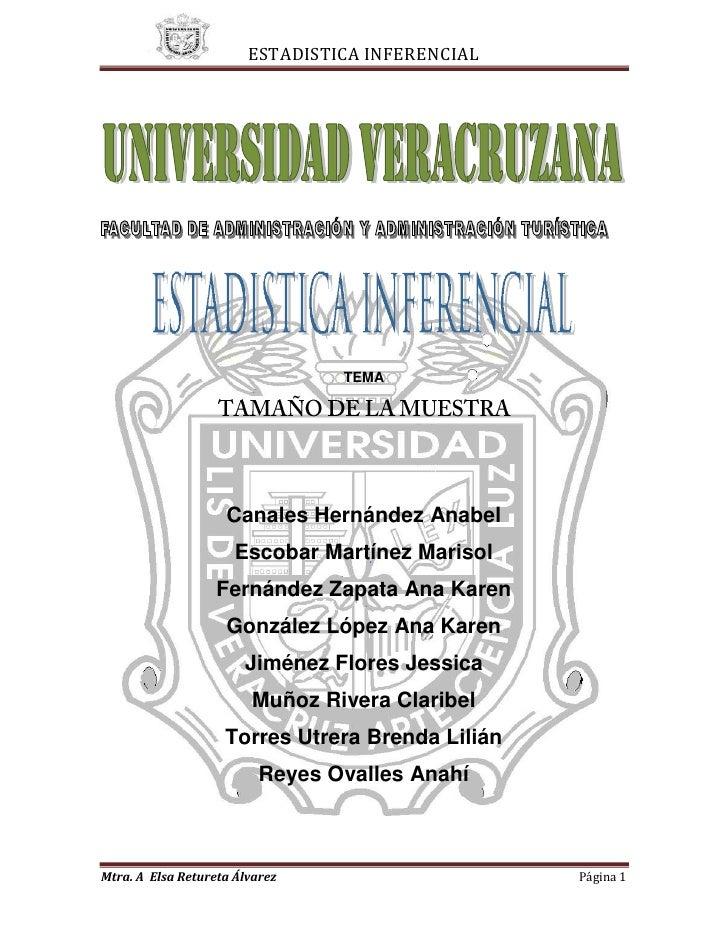 43815196215<br />TEMA<br />TAMAÑO DE LA MUESTRA<br />Canales Hernández Anabel<br />Escobar Martínez Marisol<br />Fernández...