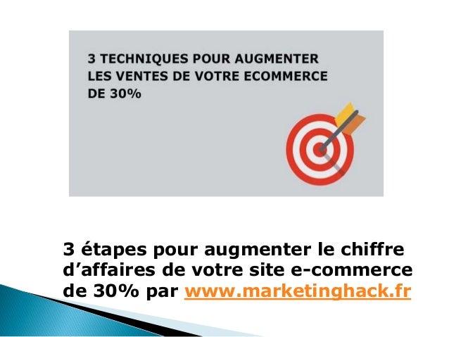3 étapes pour augmenter le chiffre d'affaires de votre site e-commerce de 30% par www.marketinghack.fr