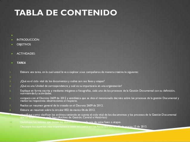 TABLA DE CONTENIDO   INTRODUCCIÓN  OBJETIVOS  ACTIVIDADES:  TAREA 1. Elabore una tarea, en la cual usted le va a expl...