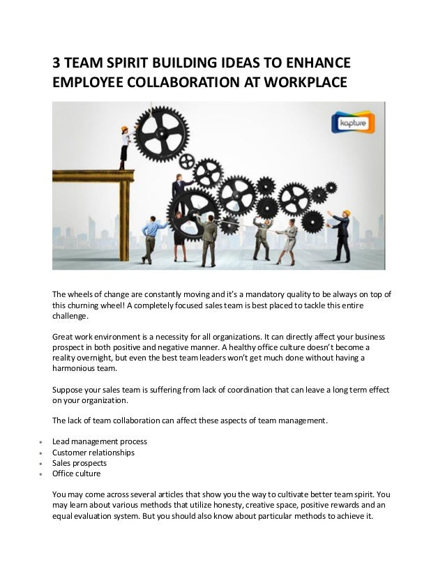 how to build team spirit in the workplace