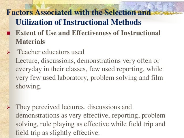 effectiveness of instructional materials as perceived 6 facilitating effective student learning through teacher research and innovation  making instructional.