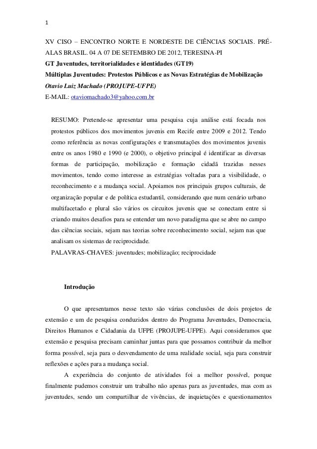 1XV CISO – ENCONTRO NORTE E NORDESTE DE CIÊNCIAS SOCIAIS. PRÉ-ALAS BRASIL. 04 A 07 DE SETEMBRO DE 2012, TERESINA-PIGT Juve...
