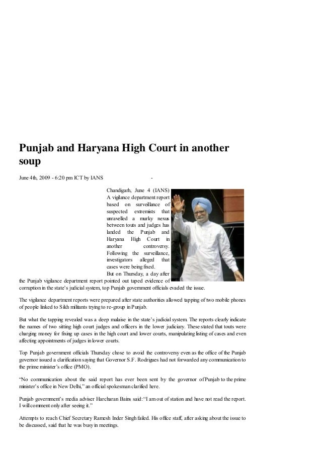 Punjab and Haryana High Court in anothersoupJune 4th, 2009 - 6:20 pm ICT by IANS                             -            ...