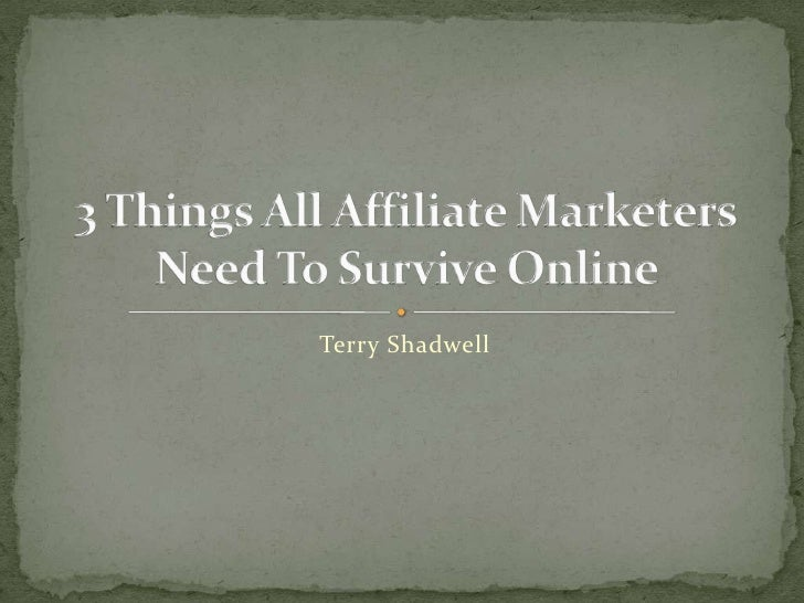 Terry Shadwell<br />3 Things All Affiliate Marketers Need To Survive Online <br />