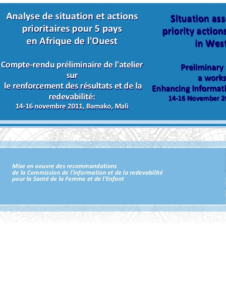 Analyse de situation et actions                                            Situation assessment and    prioritaires pour 5...