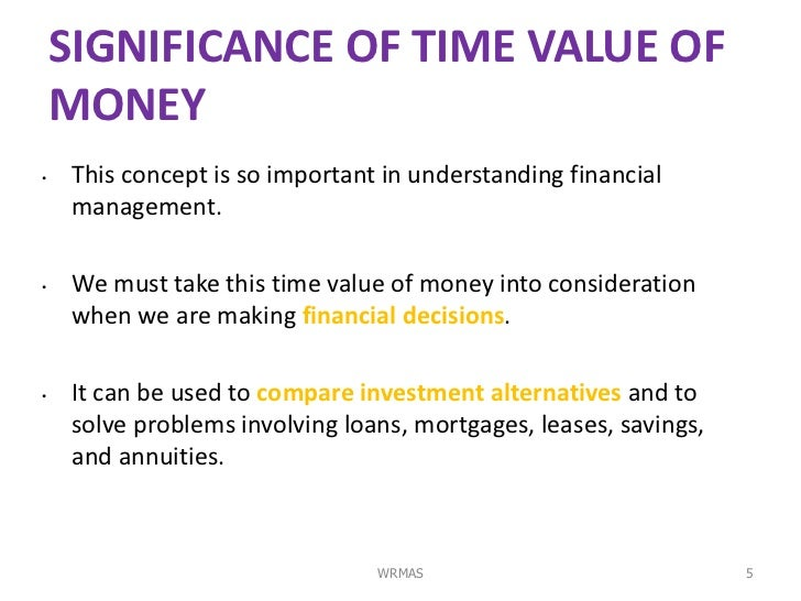 importance of time value of money in making financial decisions This concept is vital, and one my wife, amy, loves to talk to me about thinking back on all the different blog posts i have made, this one probably should have been one of the first it is that important all financial decisions should derive from the time value of money concept the concept is simple in nature,.