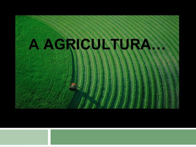 A AGRICULTURA…