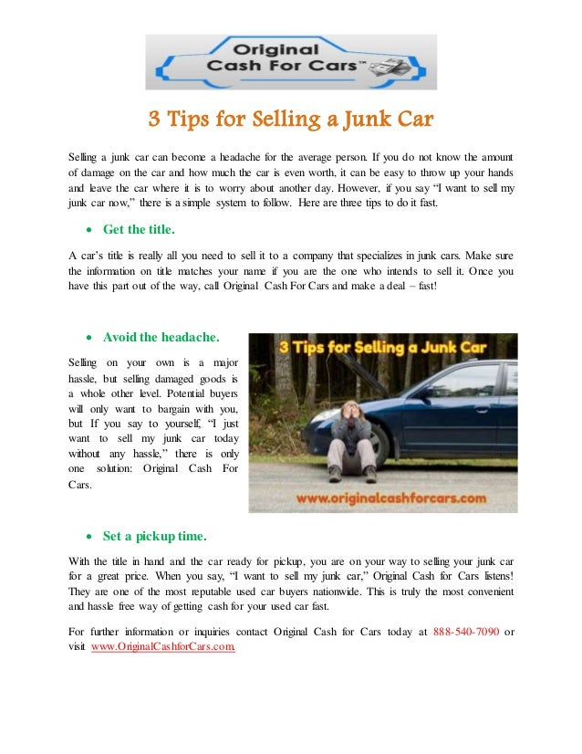 3 tips for selling a junk car