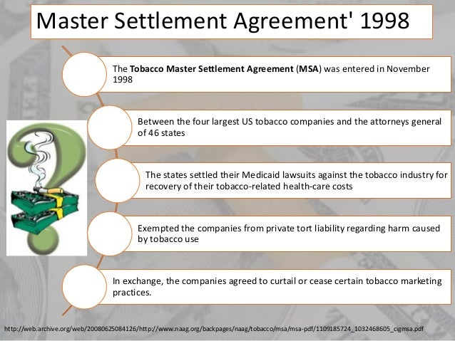 Master Settlement Agreement Master Settlement Agreement Tobacco