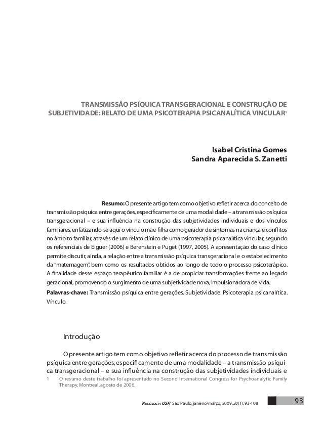 TRANSMISÃO PSÍQUICA TRANSGERACIONAL E CONSTRUÇÃO DE  SUBJETIVIDADE: relato de uma psicoterapia psicanalítica vincular1  Is...