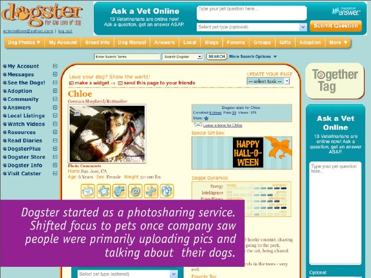 Dogster started as a photosharing service.   Shifted focus to pets once company saw  people were primarily uploading pics ...