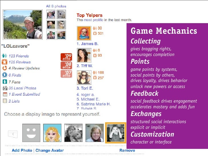 Game Mechanics Collecting gives bragging rights, encourages completion Points game points by systems, social points by oth...