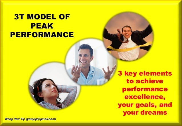 3T MODEL OF PEAK PERFORMANCE 3 key elements to achieve performance excellence, your goals, and your dreams Wong Yew Yip (y...