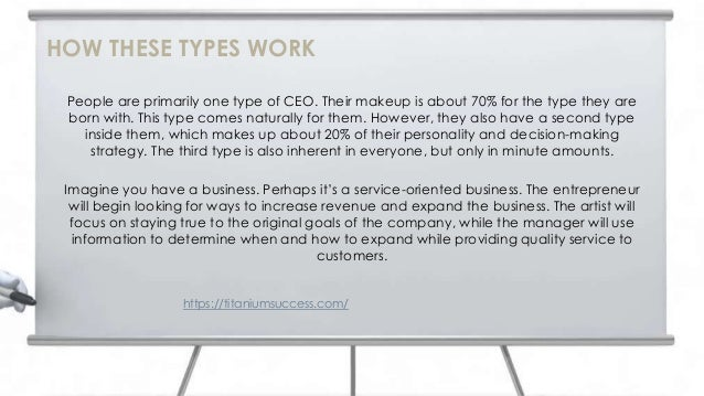 People are primarily one type of CEO. Their makeup is about 70% for the type they are born with. This type comes naturally...