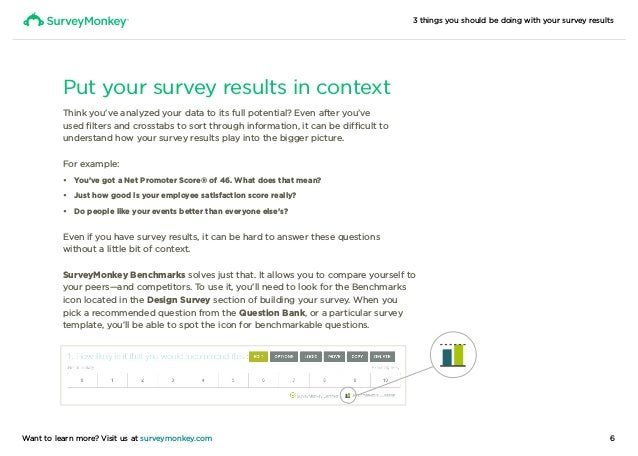3 things you should be doing with your survey results 6Want to learn more? Visit us at surveymonkey.com Put your survey re...
