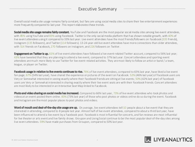 Executive Summary 2© 2014 Live Nation Entertainment Overall social media site usage remains fairly constant, but fans are ...