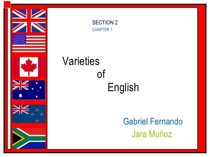 Varieties    of    English  Gabriel Fernando Jara Muñoz  CHAPTER 1 SECTION 2