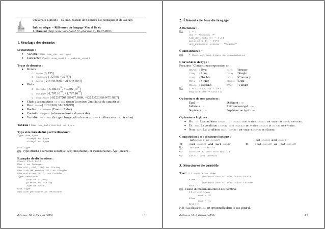 Référence VB, J. Darmont (2003) 1/7 Université Lumière – Lyon 2, Faculté de Sciences Économiques et de Gestion Informatiqu...