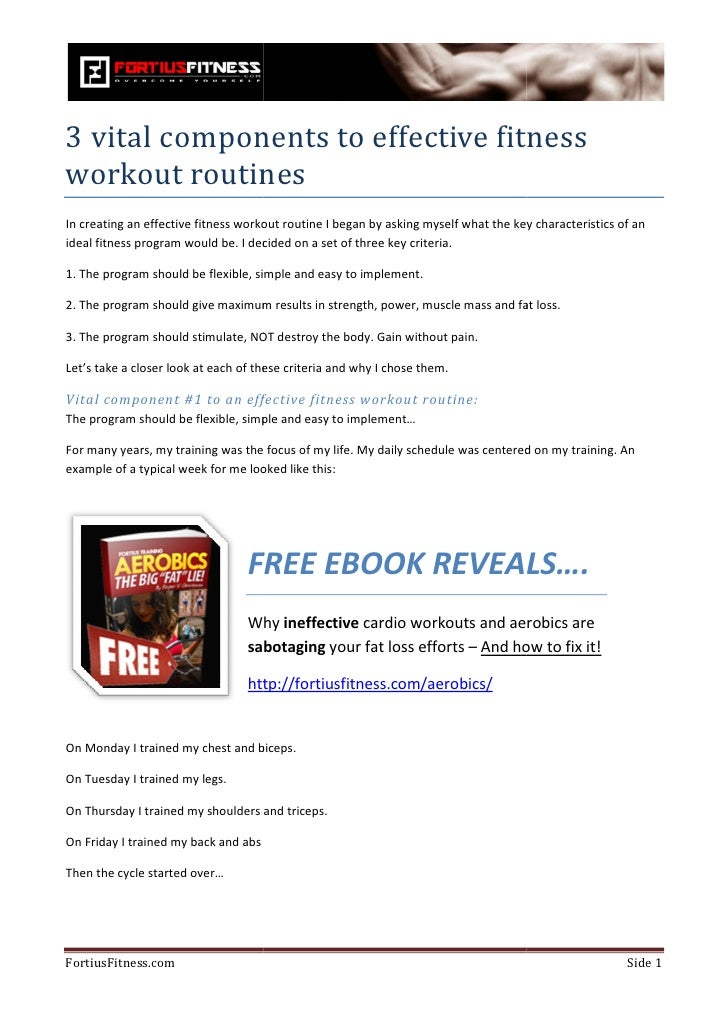 3 vital components to effective fitnessworkout routinesIn creating an effective fitness workout routine I began by asking ...