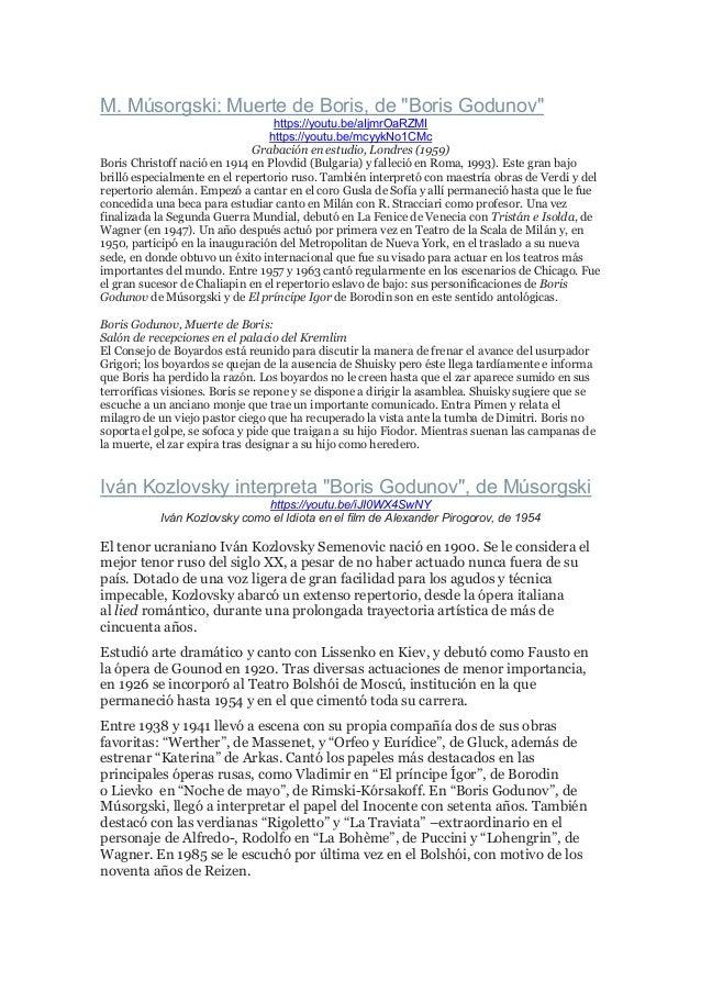 "M. Músorgski: Muerte de Boris, de ""Boris Godunov"" https://youtu.be/aIjmrOaRZMI https://youtu.be/mcyykNo1CMc Grabación en e..."