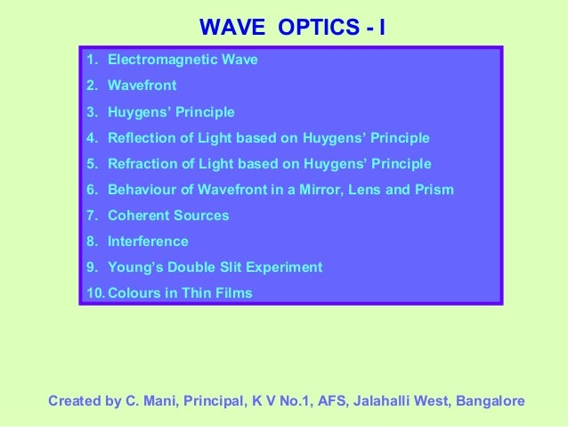 Wave Optics Class 12 Part-1