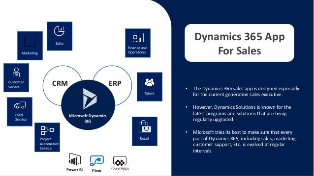 • The Dynamics 365 sales app is designed especially for the current generation sales executive. • However, Dynamics Soluti...