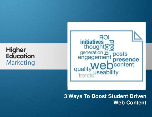 3 Ways To Boost Student-Driven Web Content Slide 1 3 Ways To Boost Student Driven Web Content