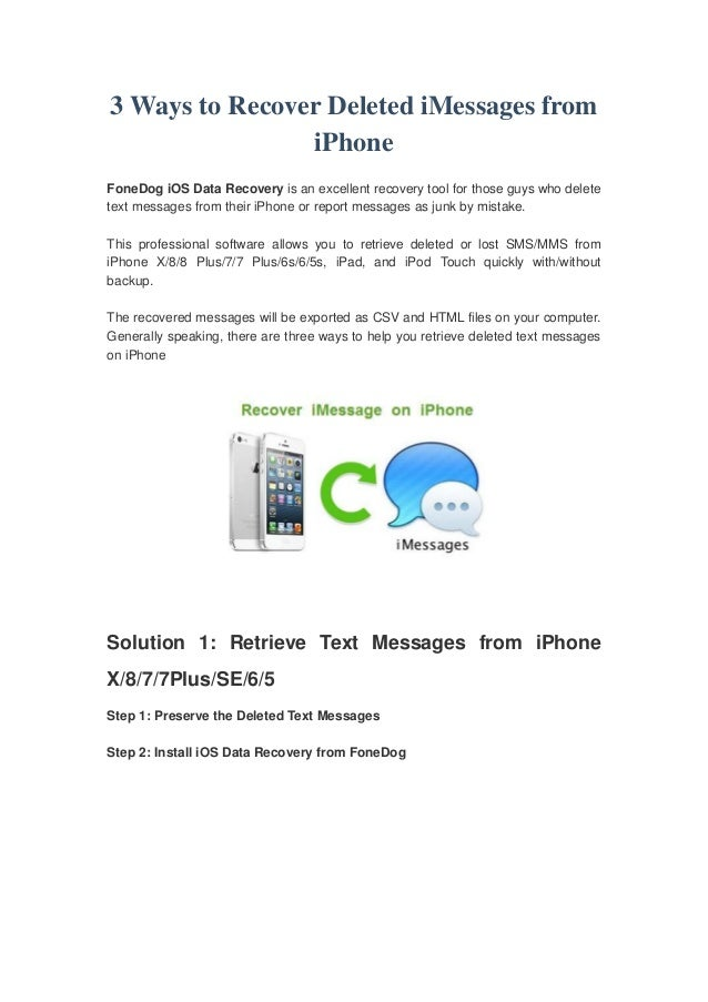 How To Recover Old Texts On Iphone 8 How to Restore Deleted