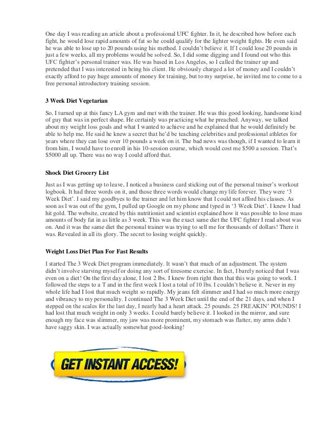 3 Week Diet Reviews - System Meal Plan And Food List PDF ...