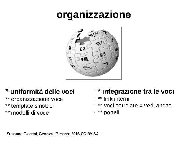 organizzazione * uniformità delle voci ** organizzazione voce ** template sinottici ** modelli di voce l * integrazione tr...