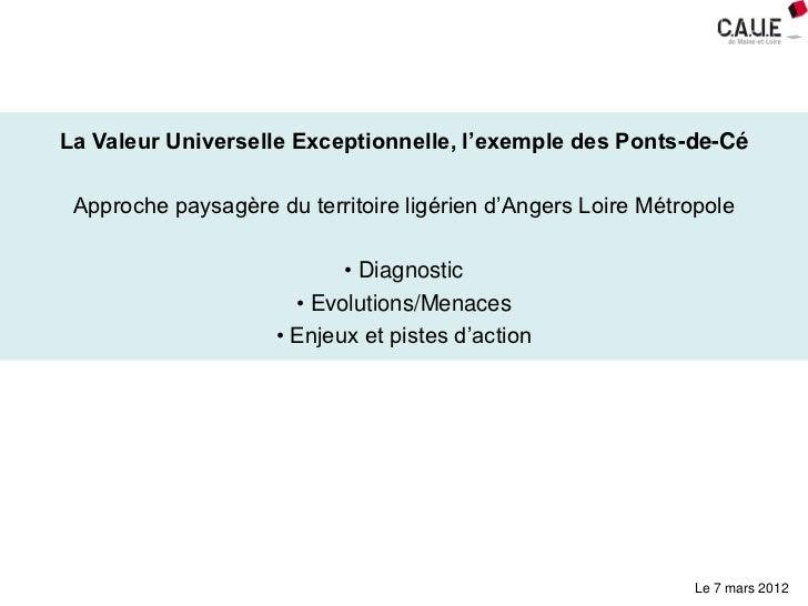 La Valeur Universelle Exceptionnelle, l'exemple des Ponts-de-Cé Approche paysagère du territoire ligérien d'Angers Loire M...