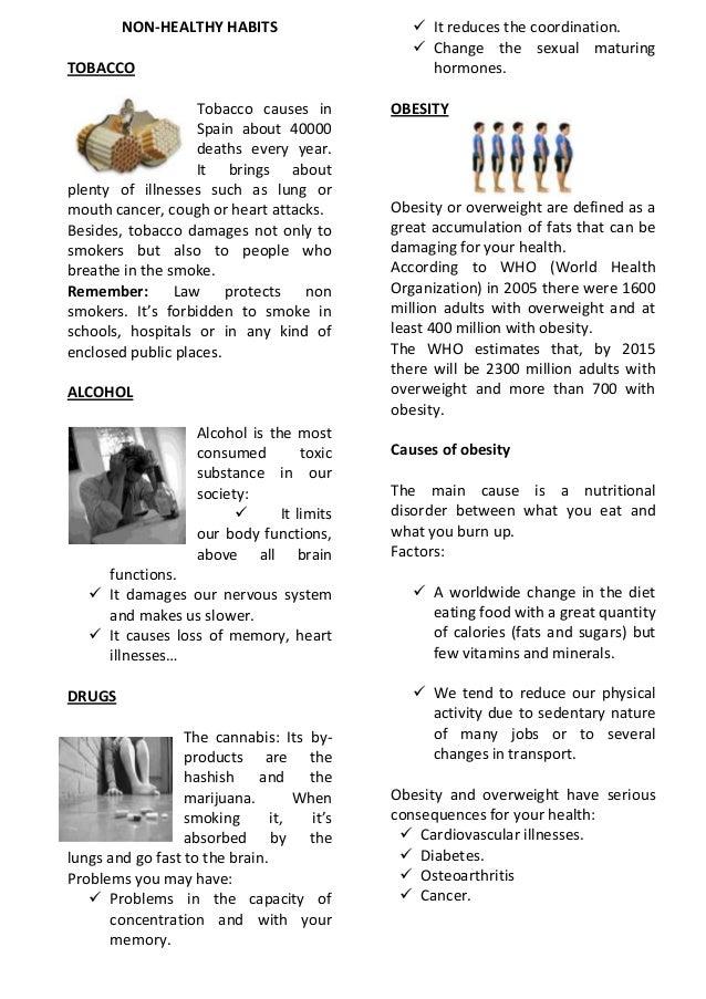 WORKSHEET UNHEALTHY HABITS – Cancer Worksheet