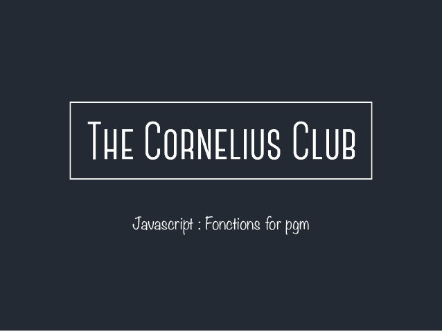 Javascript : Fonctions for pgm