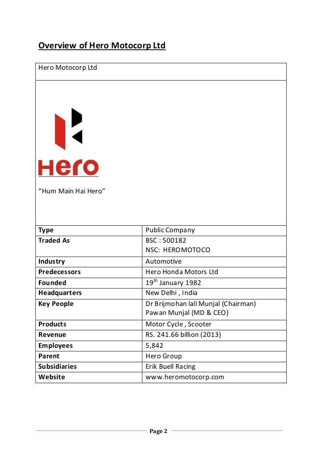hero motocorp company analysis