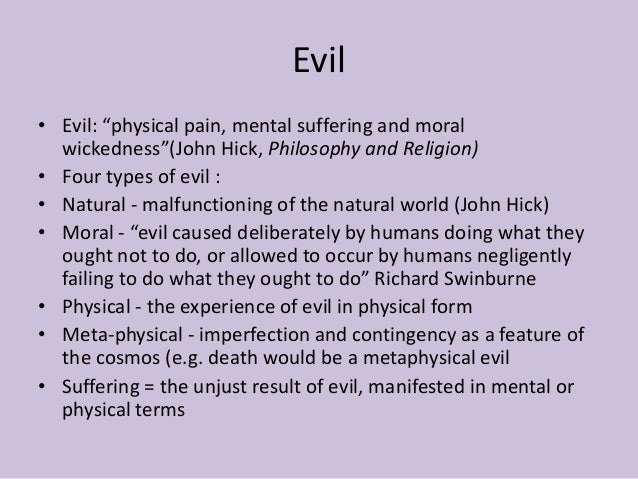 An analysis of the philosophical definition of the meaning of evil