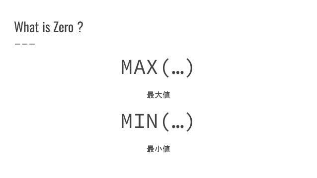 What is Zero ? MAX(…) 最大値 MIN(…) 最小値