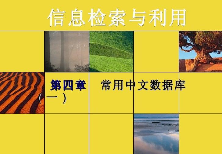 第四章  常用中文数据库   ( 一 ) 信息检索与利用