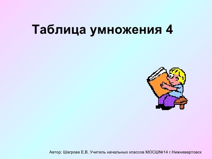 Таблица умножения 4 Автор: Шагрова Е.В. Учитель начальных классов МОСШ№14 г.Нижневартовск