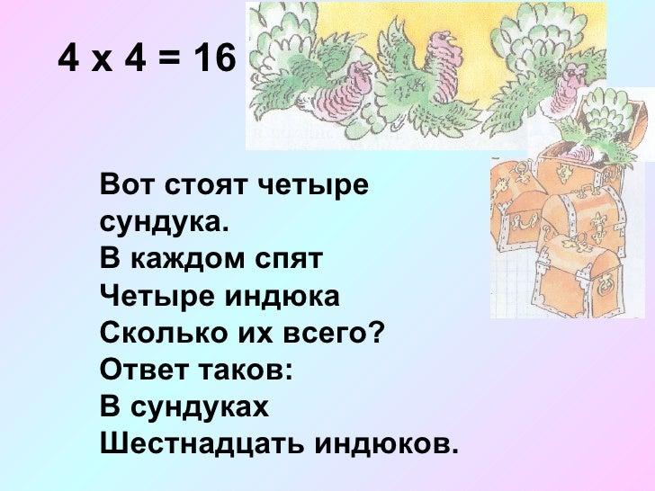 4 х 4 = 16 Вот стоят четыре сундука. В каждом спят Четыре индюка Сколько их всего? Ответ таков: В сундуках  Шестнадцать ин...