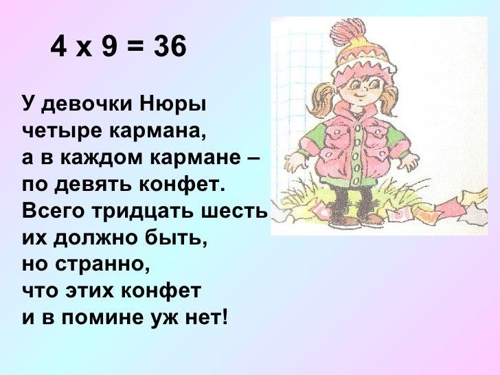4 х 9 = 36 У девочки Нюры  четыре кармана, а в каждом кармане – по девять конфет. Всего тридцать шесть их должно быть, но ...