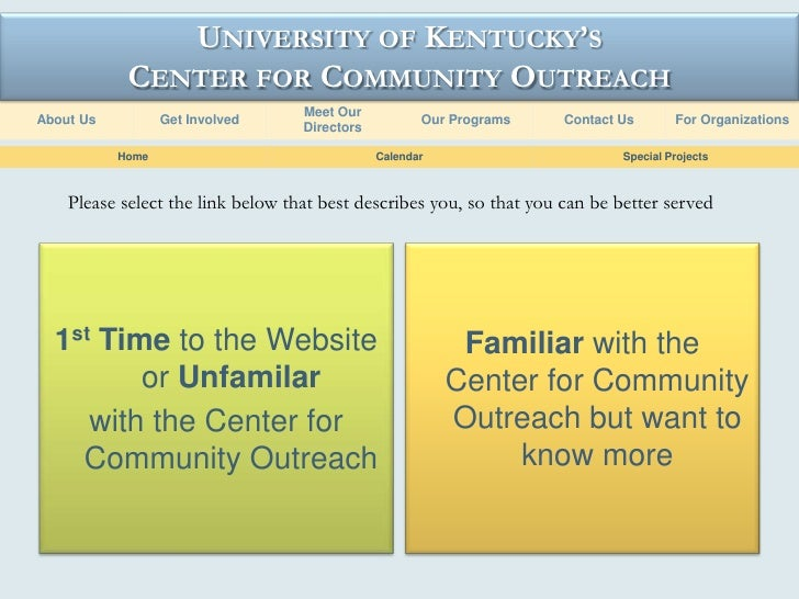 UNIVERSITY OF KENTUCKY'S             CENTER FOR COMMUNITY OUTREACH                                    Meet Our About Us   ...