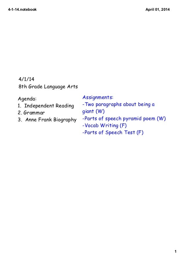 4­1­14.notebook 1 April 01, 2014 4/1/14 8th Grade Language Arts Agenda: 1. Independent Reading 2. Grammar 3. Anne Frank Bi...