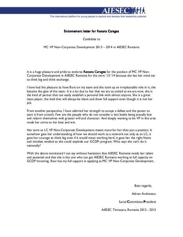 Endorsement Letter For Roxana Caragea ...