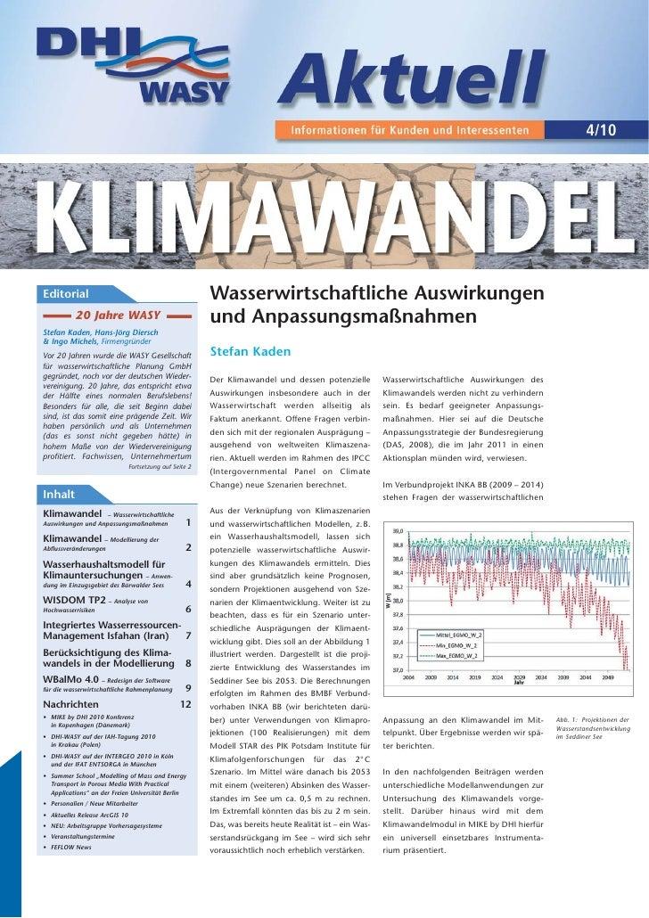 4/10Editorial                                                 Wasserwirtschaftliche Auswirkungen           20 Jahre WASY  ...