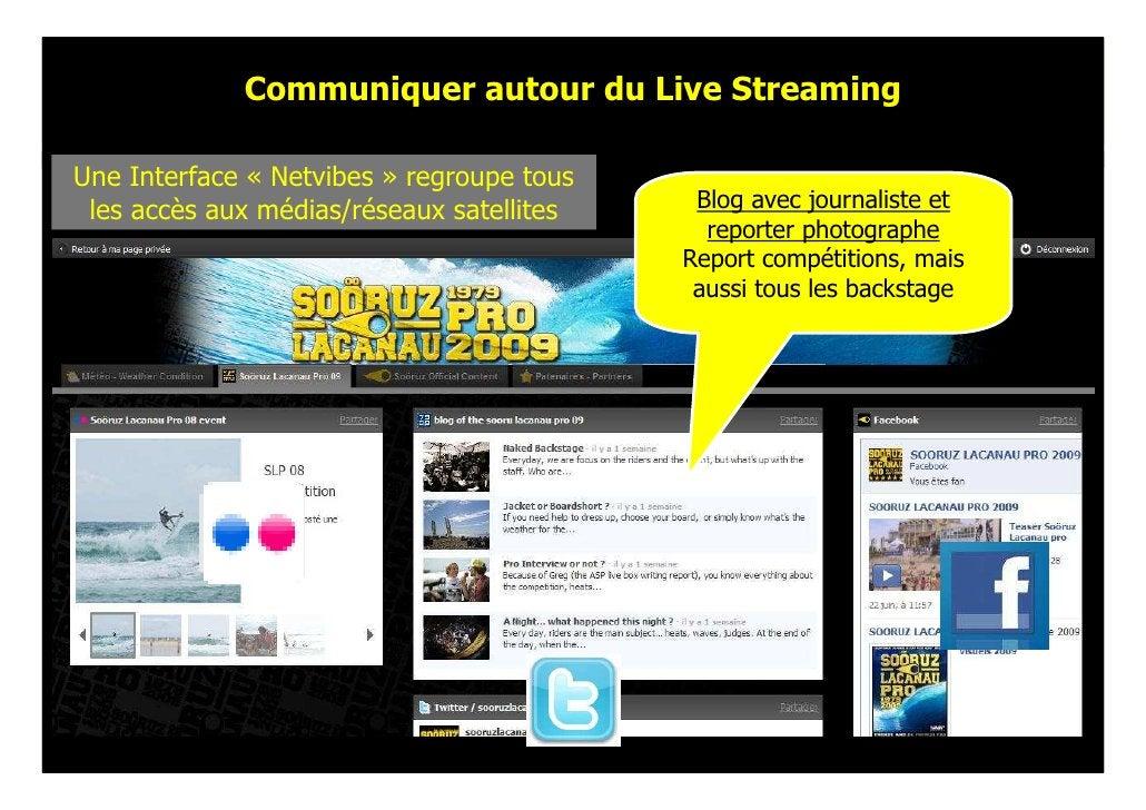 Communiquer autour du Live Streaming  Une Interface « Netvibes » regroupe tous  les accès aux médias/réseaux satellites   ...