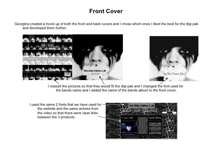 Front Cover <ul><li>Georgina created a mock up of both the front and back covers and I chose which ones I liked the best f...
