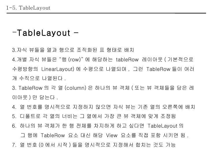 """1-5. TableLayout <ul><li>TableLayout – </li></ul><ul><li>자식 뷰들을 열과 행으로 조직화된 표 형태로 배치 </li></ul><ul><li>개별 자식 뷰들은 """"행 (row)""""..."""