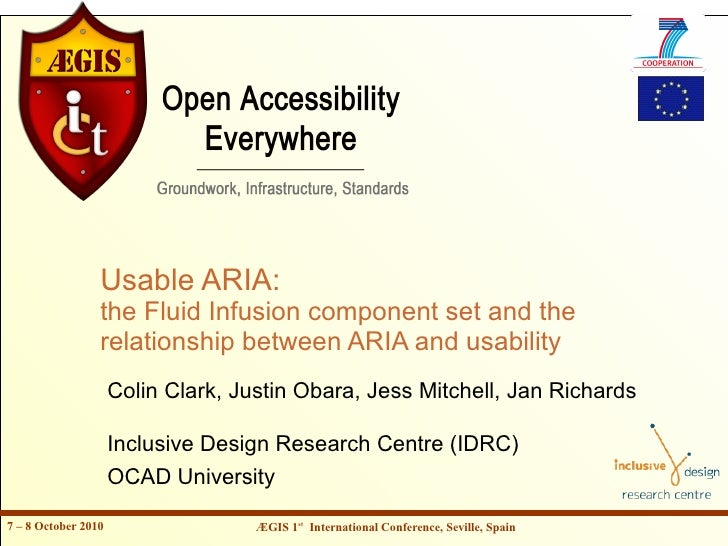 Usable ARIA:                  the Fluid Infusion component set and the                  relationship between ARIA and usab...
